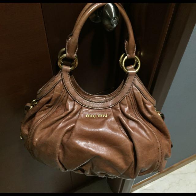 Authentic Miu Miu Hobo Bag in Vitello Vintage Leather (Pallisandro ... b14111c8f5a2b