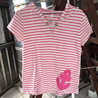 💯二手 ⚓️海洋風條紋粉紅色船錨短袖帽T