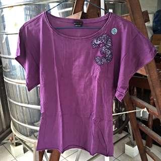 💯二手 Diesel紫色蕾絲刺繡短T