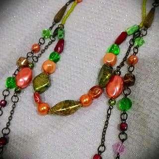 超好搭多彩珠珠長項鍊(9成新)