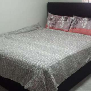 Queen Size Hydraulic Bed Frame & Mattress