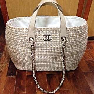 Chanel Braided Straw & Calfskin Tote