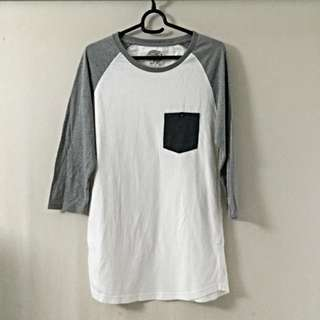 COTTON ON White & grey 3/4 Sleeved T-Shirt