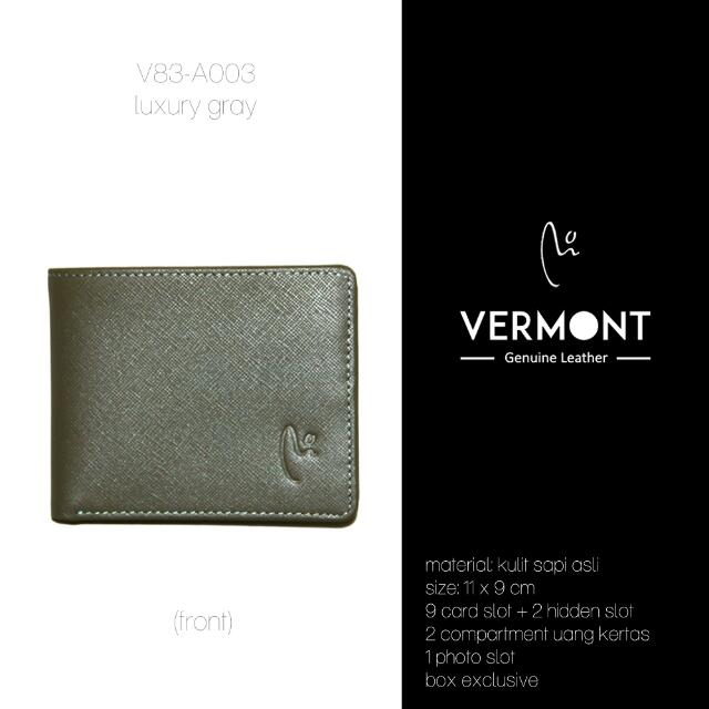 Dompet Kulit VERMONT V83-A003 Luxury Gray Genuine Leather Wallet