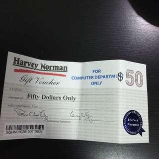 HARVEY NORMAN $50 CASH VOUCHER