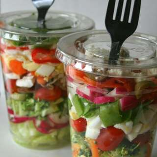 Salad In A Cheapskate Cannister And Healthy Lunch Pack