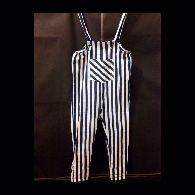 深藍條紋吊帶褲💙