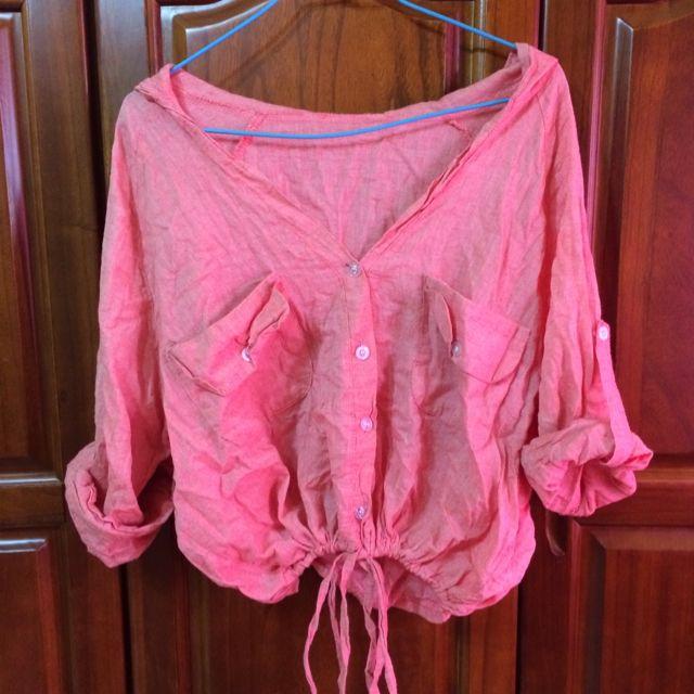 綿麻粉橘罩衫