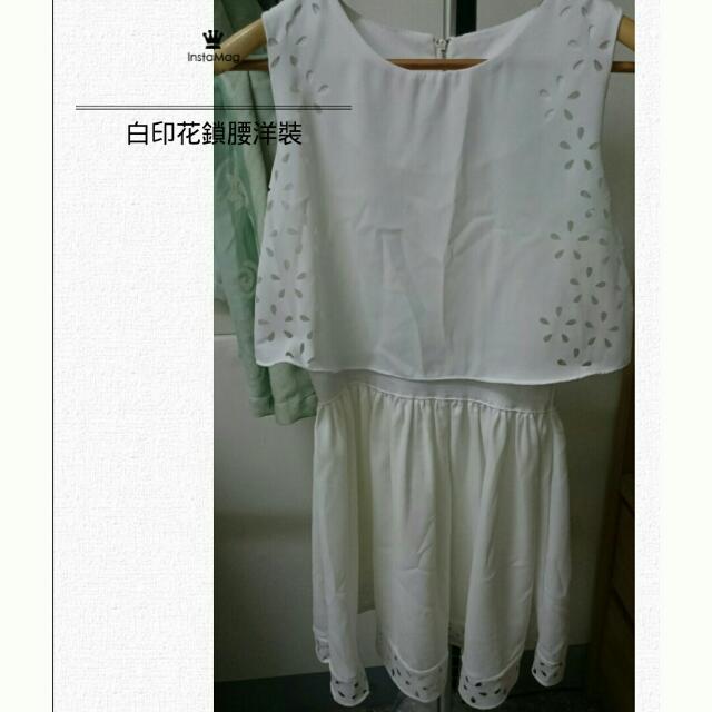 <服飾>全新 白色印花縮腰洋裝