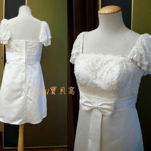 二手婚紗禮服轉賣 米白蕾絲蝴蝶結膝上裙洋裝 伴娘服禮服表演服 自助婚紗 含運