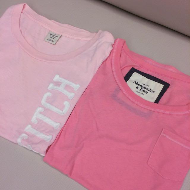A&F 深淺粉紅色短T 兩件式 XS