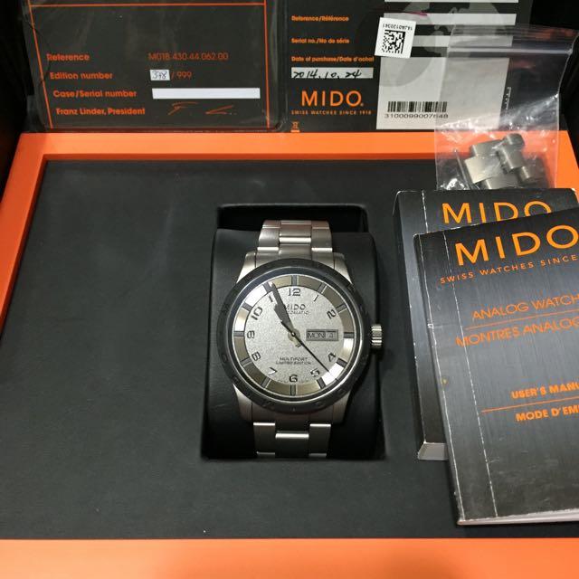 MIDO 機械錶 限量999隻  鈦金屬 藍寶石鏡面