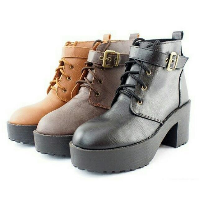 [二手] MIT 韓風可拆式皮扣帶2ways粗跟厚底短靴