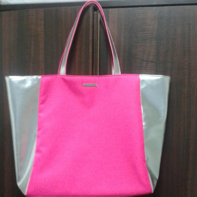 Pink & Silver Clinique Large Tote Bag