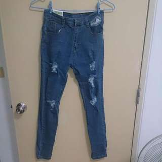 顯瘦破洞鉛筆小腳褲緊身牛仔褲