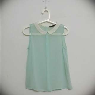 ZARA Peter Pan Collar Top