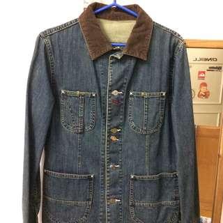絨質領口造型牛仔襯衫 Size M