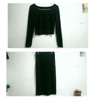 (全新) 黑長裙套裝