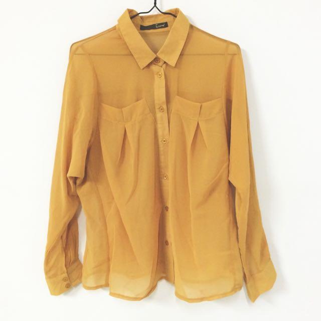 STARMIMI 芥黃色蓬鬆雪紡上衣