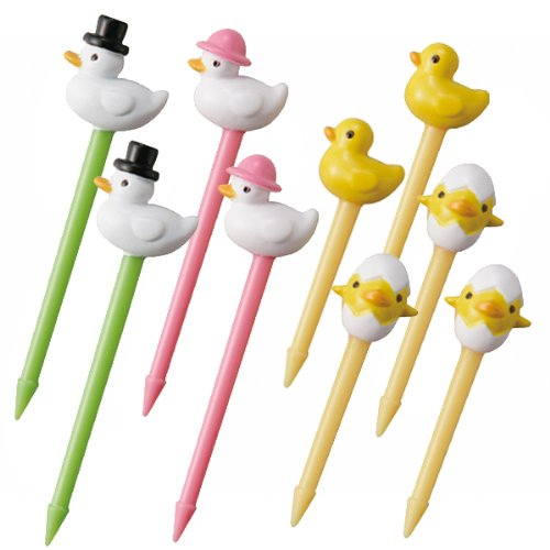 BN CuteZCute Bento 3D Food Pick, 10-Piece, Duck Family
