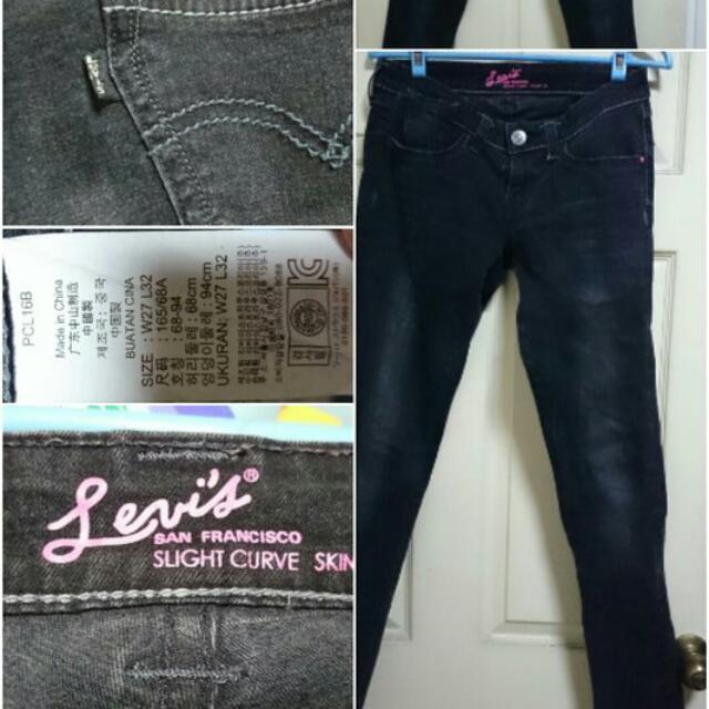 Levi's 黑色小直筒牛仔褲 Size:27吋
