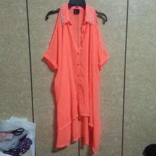 螢光橘珍珠領前短後長挖肩上衣