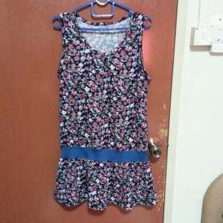 Flowery Long Top / Mini Dress For Petite
