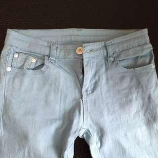 糖果色淺藍彈性合身褲