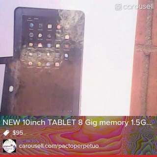 TABLET STILL IN BOX 10 inch 8 gig memory 1.5 mhz processor speed TABLET with camara, sdcard slot, HDMI, USB, DC HOLDS text me at 6197045190 https://www.paidverts.com/ref/sean007 3) Bonus Ad Points