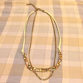 皮繩兩件式項鍊
