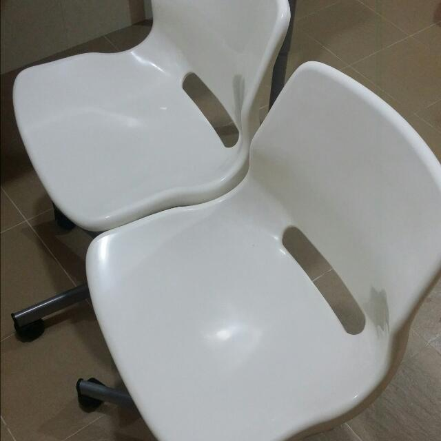 Final Markdown - Set Of 2 White Chairs With Wheels (Available end June Only)