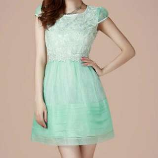PO Organza Lace Dress Green