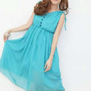 PO Chiffon Sleveless Blue Dress
