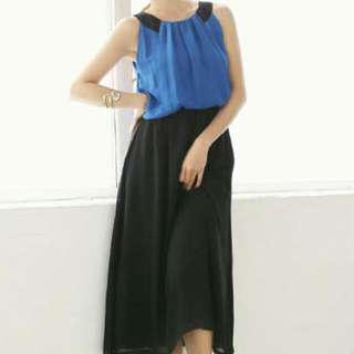 PO Chiffon Dress Blue & Black