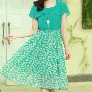 PO Sweet Spring Chiffon Dress Green