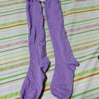 紫色可愛點點膝下襪