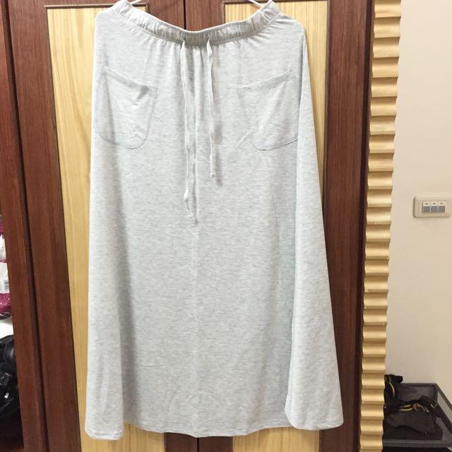 灰色棉質長裙