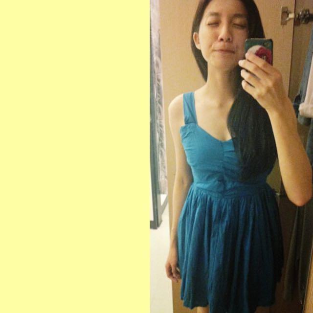 水藍色後綁帶露背小禮服