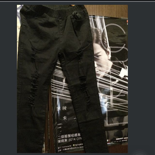 全新刷破牛仔伸縮褲(黑色)