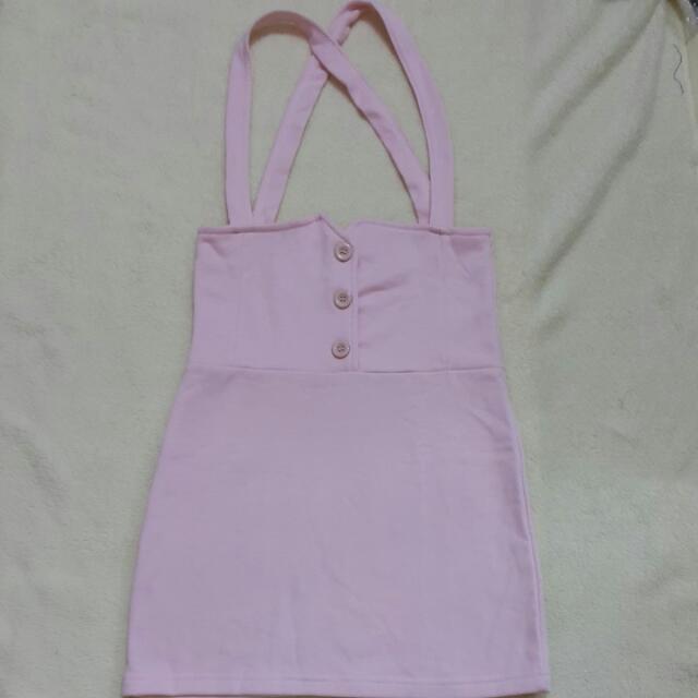 粉色高要吊帶裙