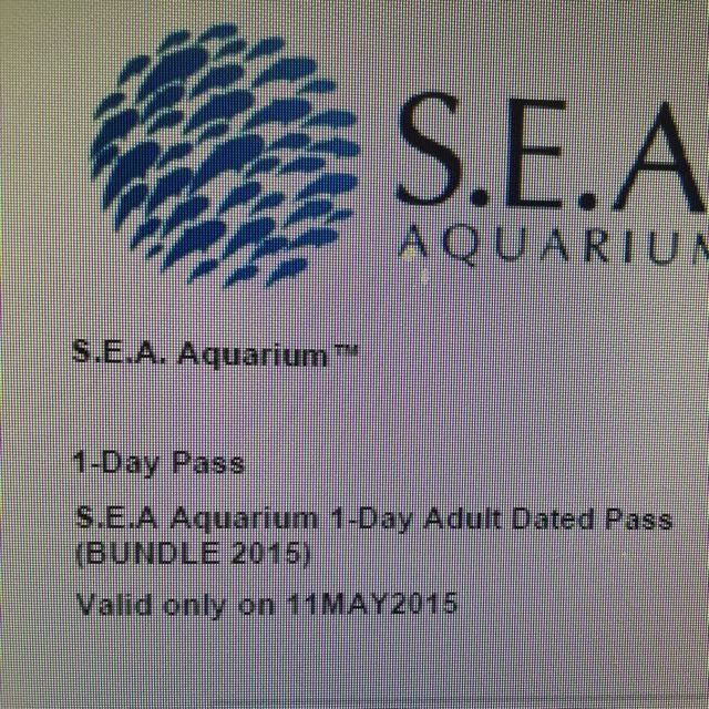 2 Tickets of S.E.A Aquarium On May 11