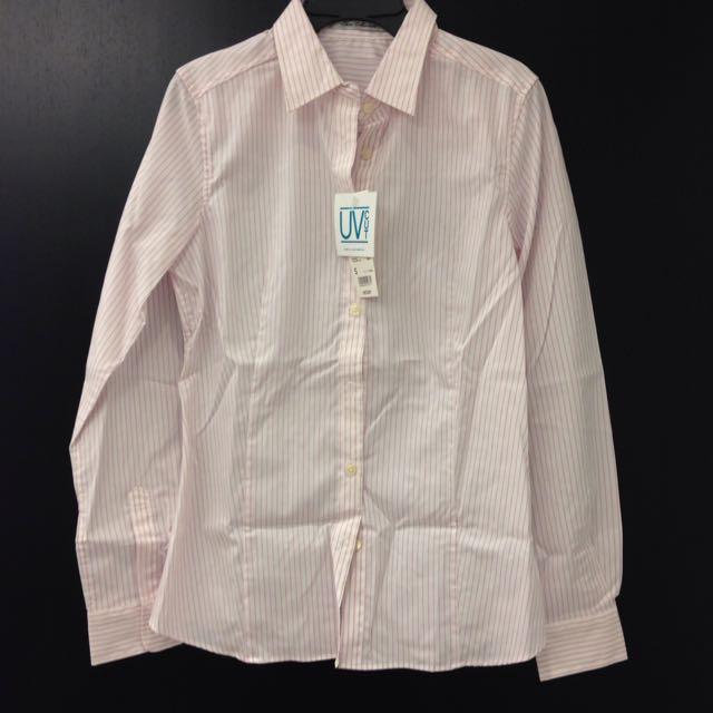 (降價) 全新Uniqlo粉紅直條紋抗UV襯衫