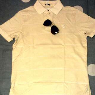 🚚 A&F 黃白橫條紋Polo衫 S號