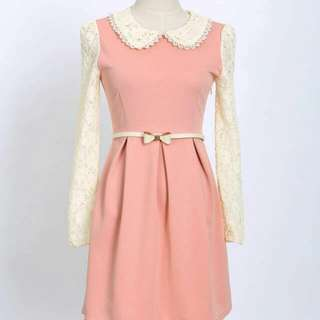 PO White Lace Pink Dress