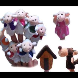 Brand New Wolf & Lambs Finger Puppets
