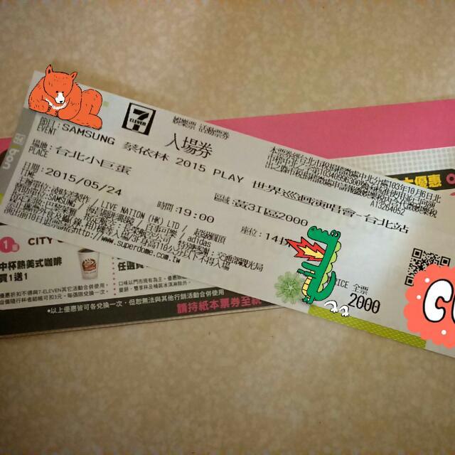 【售】降價↓↓5/24 蔡依林 2015 Play 演唱會門票黃3I區