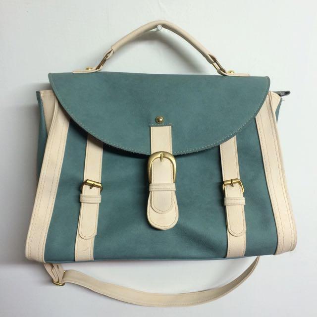 二手🙌藍綠色時尚肩背包🙋