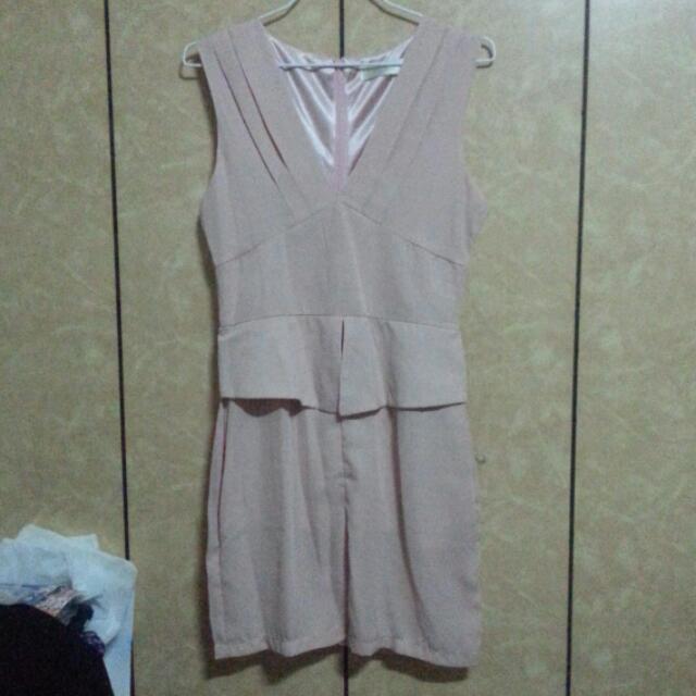 Angelababy同款粉色雪紡洋裝