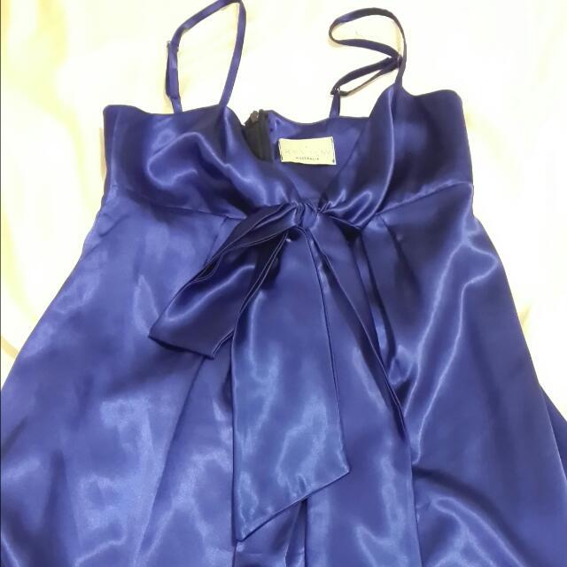Review Sexy Satin Blue Dress