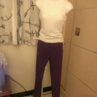 超顯瘦⭐紫色⭐彈性褲